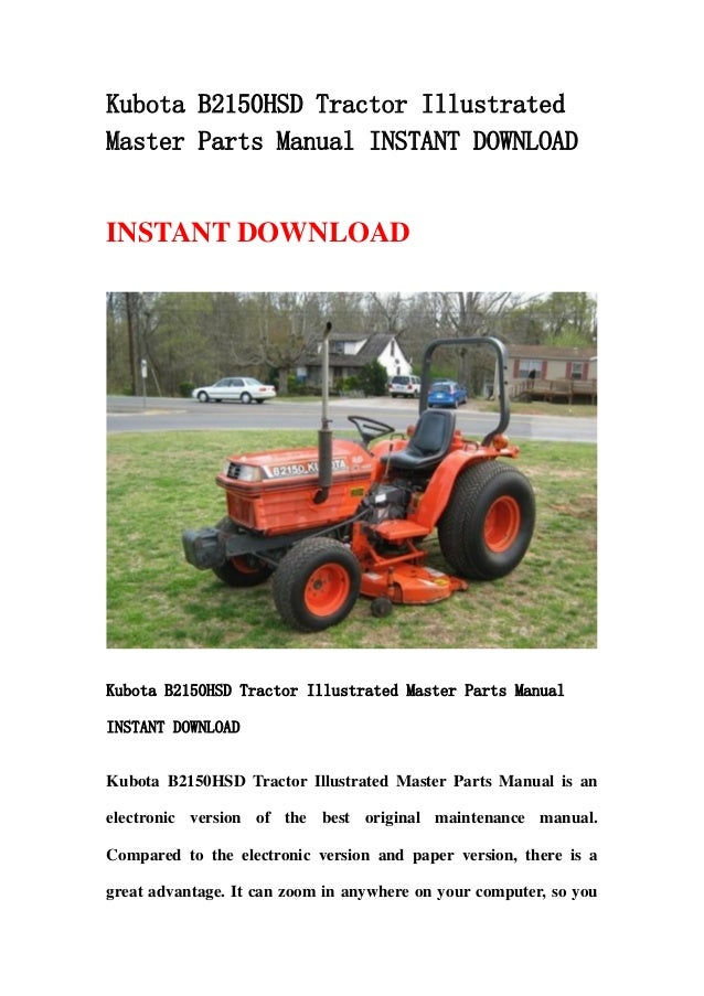 Kubota B2150 Hsd Tractor Illustrated Master Parts Manual Instant Down