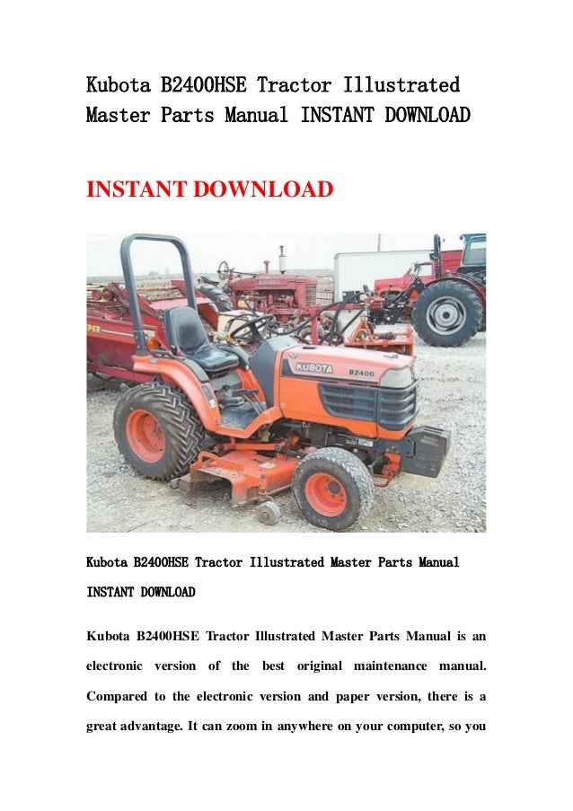 kubota b2410hsd tractor illustrated master parts list manual