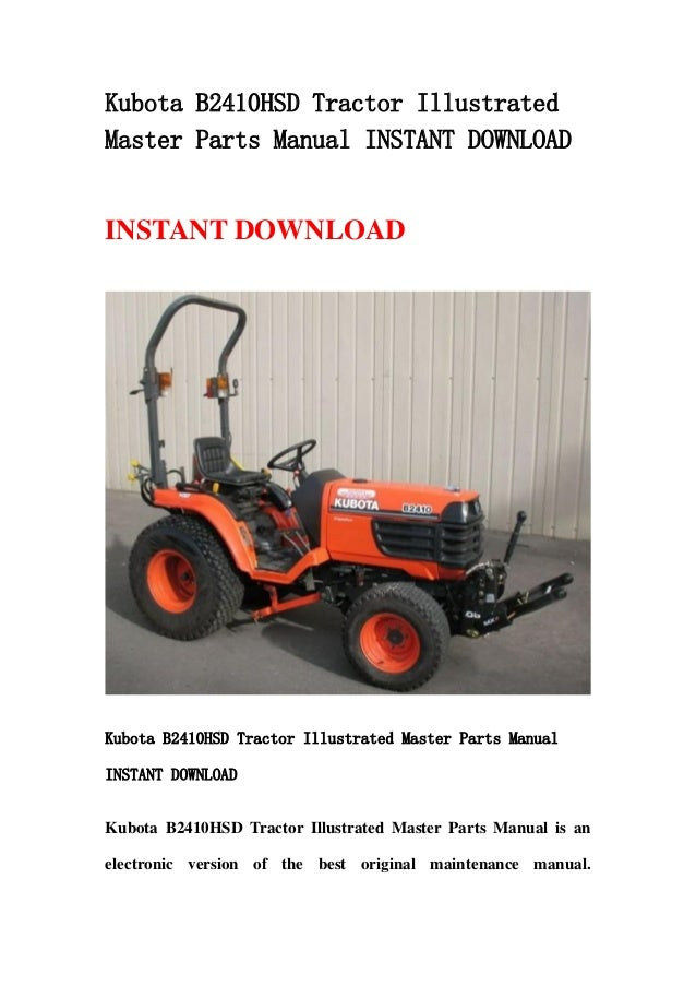 Kubota Tractor Parts Lookup : Kubota b hsd tractor illustrated master parts manual
