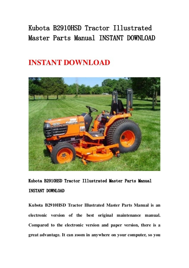kubota b2910 hsd tractor illustrated master parts manual instant download