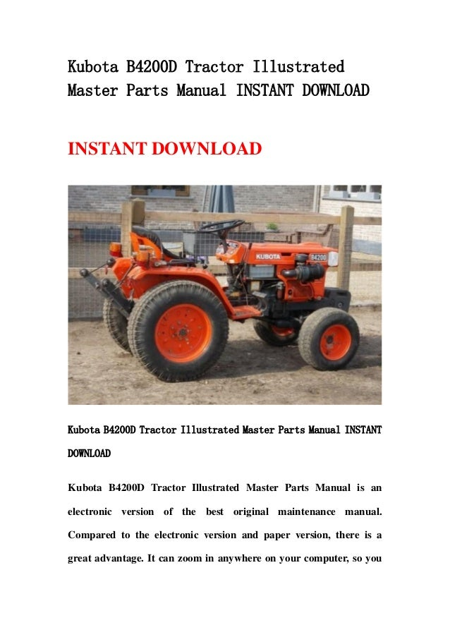 Kubota B4200 D Tractor Illustrated Master Parts Manual Instant Downlo