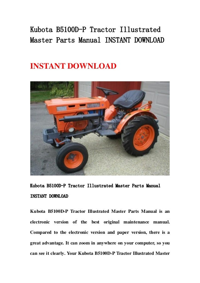 Combine Parts Of The Slideshow : Kubota b d p tractor illustrated master parts manual