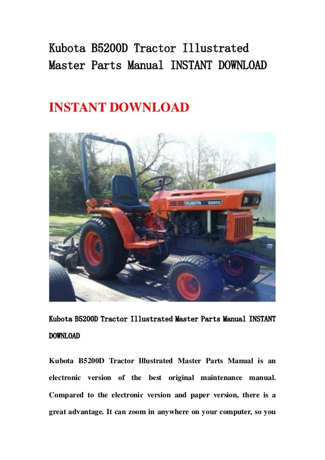 kubota b5200 d tractor illustrated master parts manual instant downlo rh slideshare net Kubota B5200 Review kubota b6200 wiring diagram