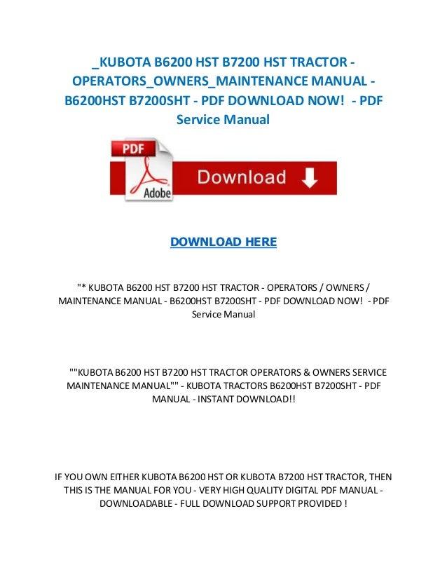 Kubota tractor B7200 Manual