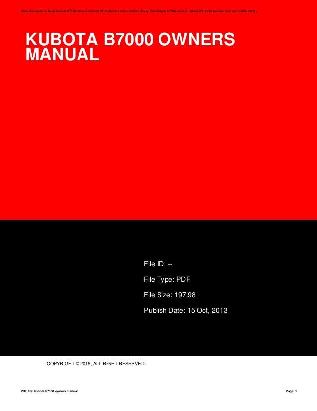 kubota b7000 owners manual rh slideshare net Kubota B7001 kubota b7000 repair manual