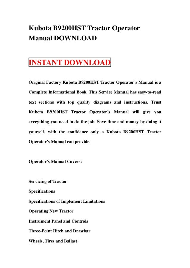 kubota b9200 hst tractor operator manual download rh slideshare net kubota b8200 service manual download kubota b8200 service manual pdf