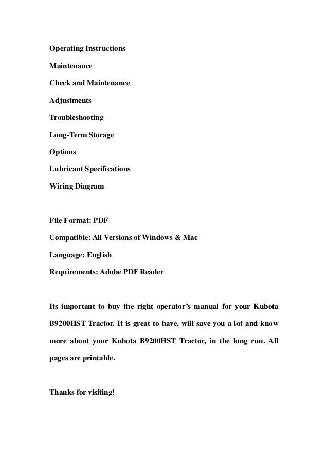 Kubota B9200 Hst Tractor Operator Manual Download