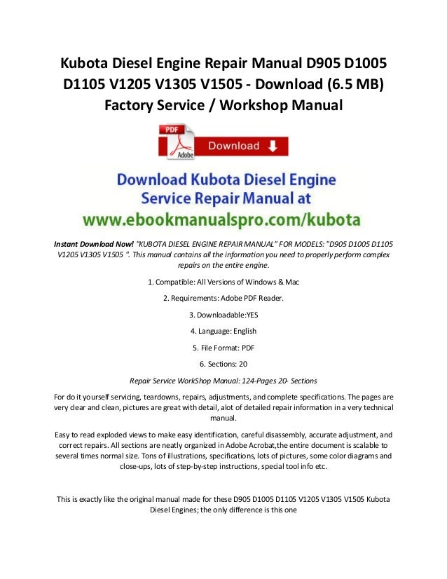 Kubota Diesel Engine Repair Manual D905 D1005 D1105 V1205 V1305 V1505…
