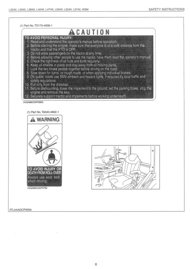 Kubota l5240 tractor service repair manual