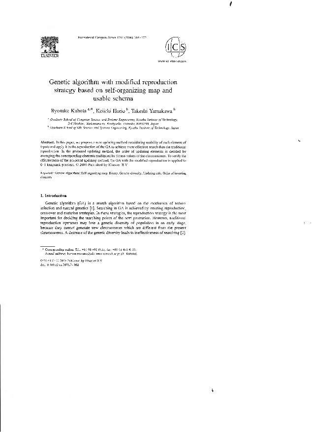 International Congress Series 1291 (2006) 1&9~ 17':.  ELSEVIER vww_ics~e l sevic::r.com  Genetic algorithm with modified r...