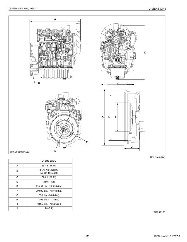 Kubota v1505 e3 bg diesel engine service repair manual