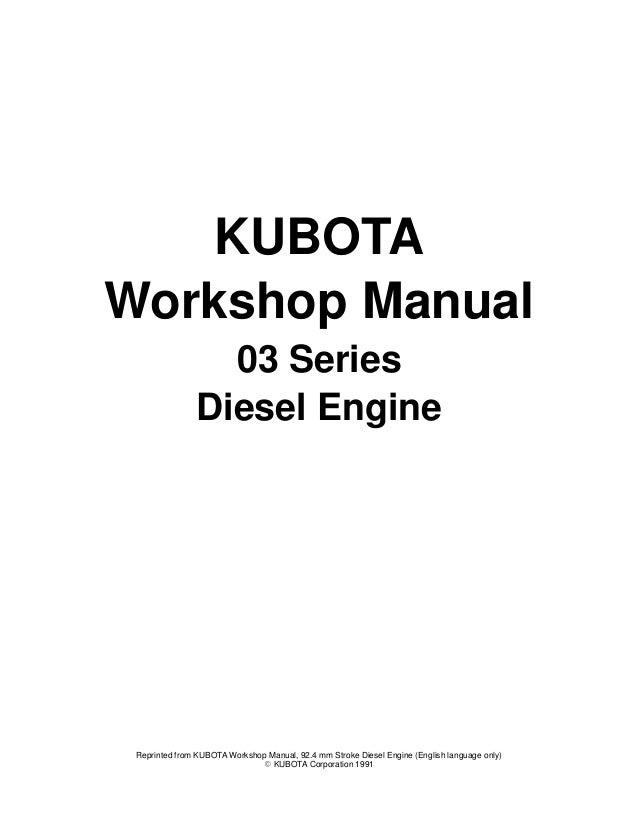 Kubota v2203 b(e) diesel engine service repair manual
