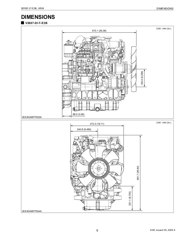 Kubota V2607 Di T E3 B Diesel Engine Service Repair Manual