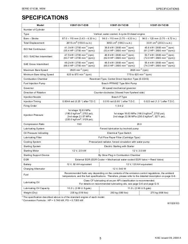 Kubota v2607 di-t-e3 b diesel engine service repair manual