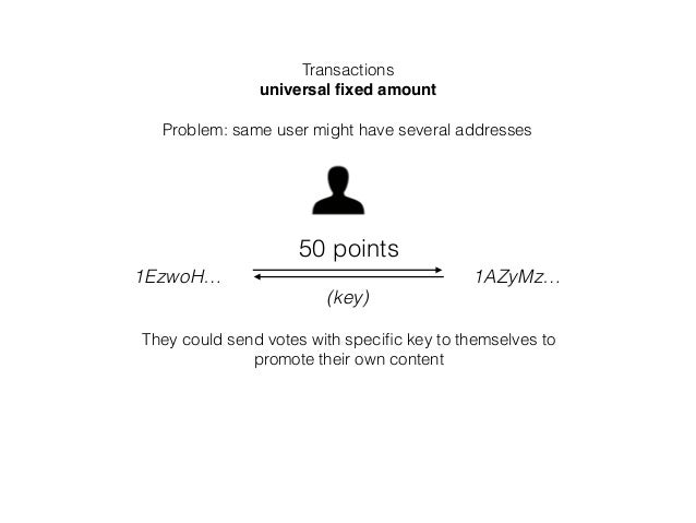 Transactions universal fixed amount Problem: same user might have several addresses 1EzwoH… 1AZyMz… 50 points They could se...