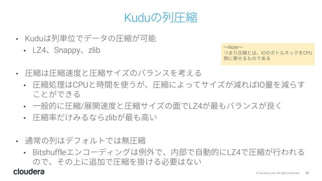 34© Cloudera, Inc. All rights reserved. Kuduの列圧縮 • Kuduは列単位でデータの圧縮が可能 • LZ4、Snappy、zlib • 圧縮は圧縮速度と圧縮サイズのバランスを考える • 圧縮処理はCP...