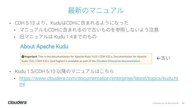 44© Cloudera, Inc. All rights reserved. 最新のマニュアル • CDH 5.13 より、KuduはCDHに含まれるようになった • マニュアルもCDHに含まれるので古いものを参照しないよう注意 • 旧マニュ...