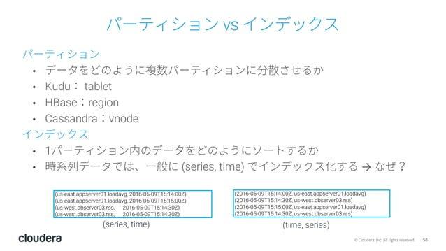 58© Cloudera, Inc. All rights reserved. パーティション vs インデックス パーティション • データをどのように複数パーティションに分散させるか • Kudu: tablet • HBase:regio...