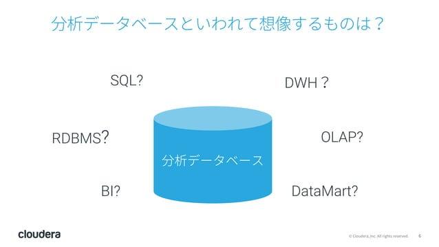 6© Cloudera, Inc. All rights reserved. 分析データベースといわれて想像するものは? SQL? DWH? BI? OLAP?RDBMS? 分析データベース DataMart?