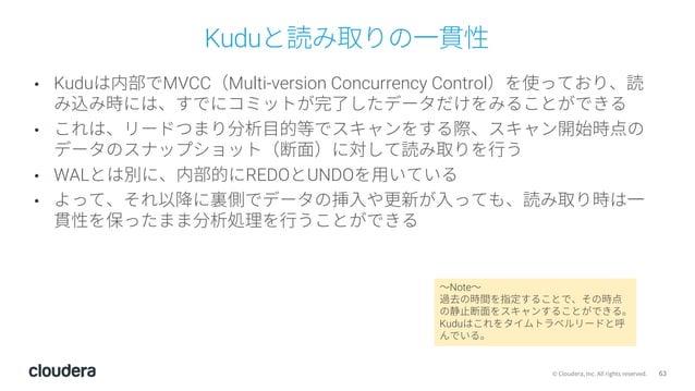 63© Cloudera, Inc. All rights reserved. Kuduと読み取りの⼀貫性 • Kuduは内部でMVCC(Multi-version Concurrency Control)を使っており、読 み込み時には、すでに...