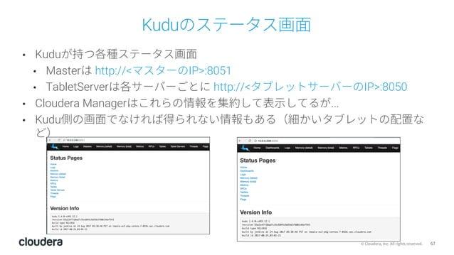 67© Cloudera, Inc. All rights reserved. Kuduのステータス画⾯ • Kuduが持つ各種ステータス画⾯ • Masterは http://<マスターのIP>:8051 • TabletServerは各サー...