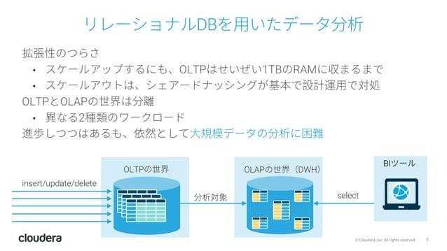 7© Cloudera, Inc. All rights reserved. リレーショナルDBを⽤いたデータ分析 拡張性のつらさ • スケールアップするにも、OLTPはせいぜい1TBのRAMに収まるまで • スケールアウトは、シェアードナッシ...