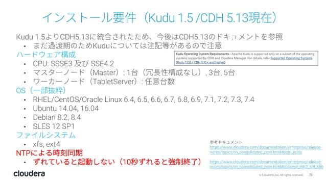 71© Cloudera, Inc. All rights reserved. インストール要件(Kudu 1.5 /CDH 5.13現在) Kudu 1.5よりCDH5.13に統合されたため、今後はCDH5.13のドキュメントを参照 • まだ...