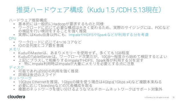 72© Cloudera, Inc. All rights reserved. 推奨ハードウェア構成(Kudu 1.5 /CDH 5.13現在) ハードウェア推奨構成 • 基本的には⼀般的にHadoopが要求するものと同様 • ワークロードに応...