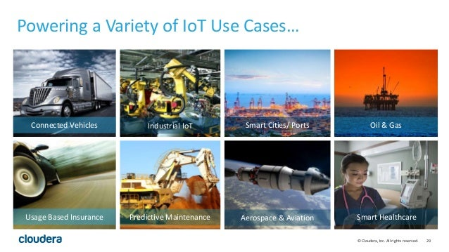 29© Cloudera, Inc. All rights reserved. Powering a Variety of IoT Use Cases… Connected Vehicles Usage Based Insurance Indu...