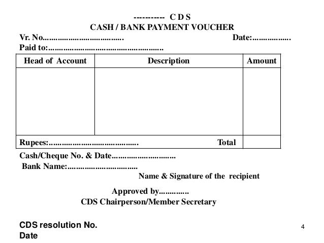 Kudumbashre cds accounting – Cheque Receipt Format