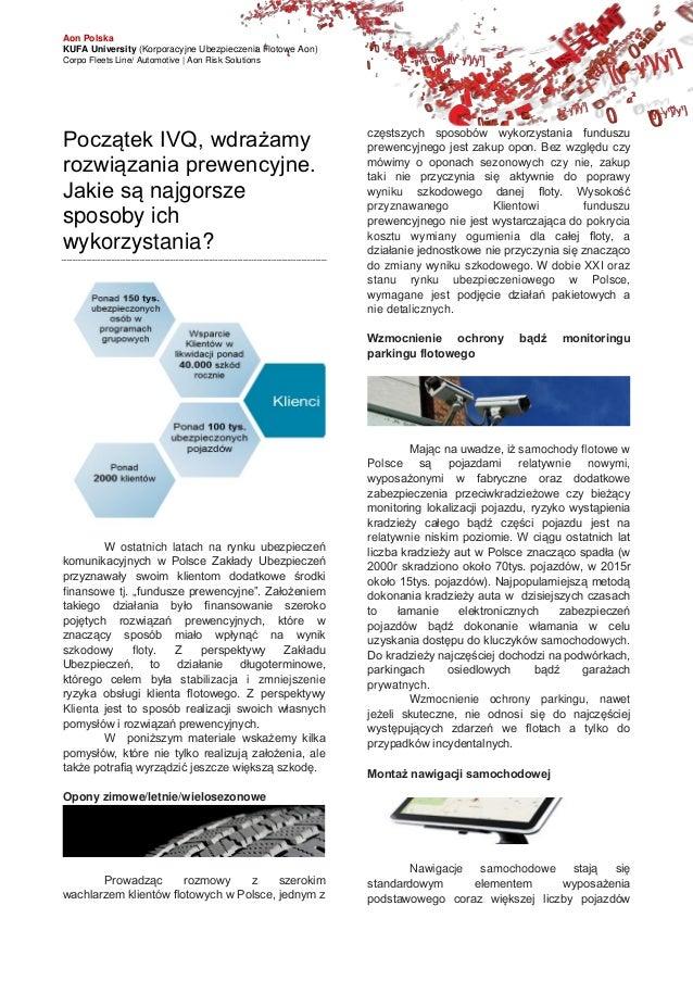 Aon Polska KUFA University (Korporacyjne Ubezpieczenia Flotowe Aon) Corpo Fleets Line/ Automotive   Aon Risk Solutions Poc...