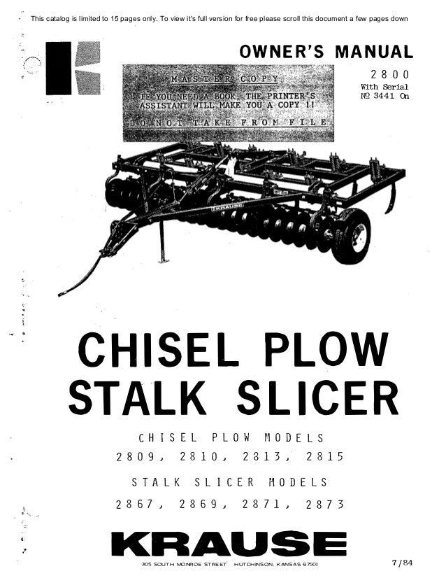 Kuhn 2800 stalk slicer chisel plow