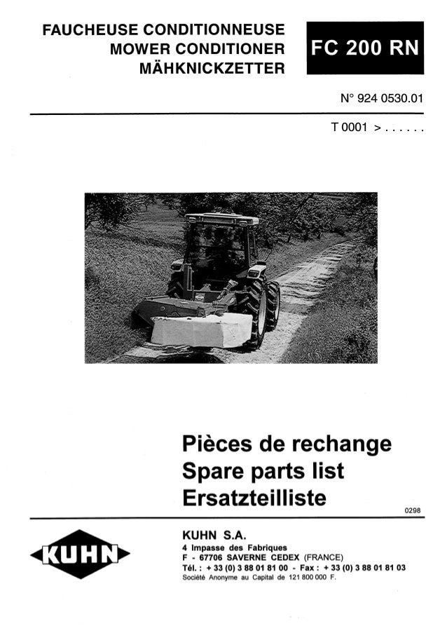 kuhn fc 200 rn mower conditioner rh slideshare net kuhn fc 200 manual