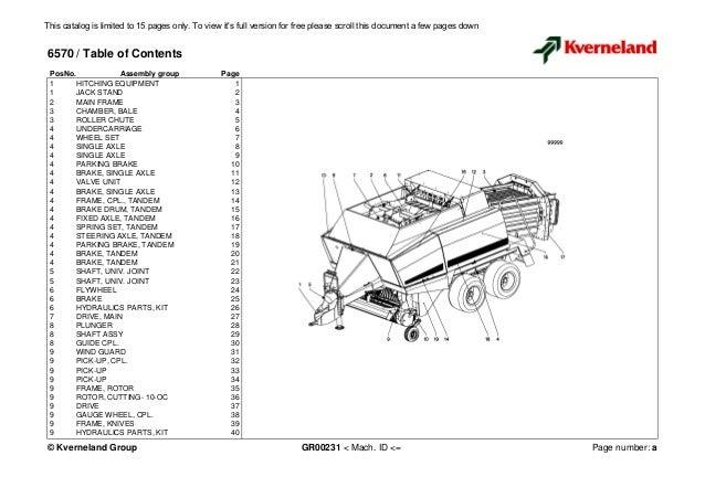 Kuhn Kverneland 6570 parts manual