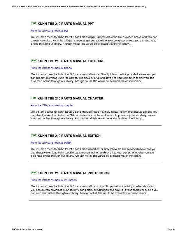 kuhn tbe 210 parts manual rh slideshare net