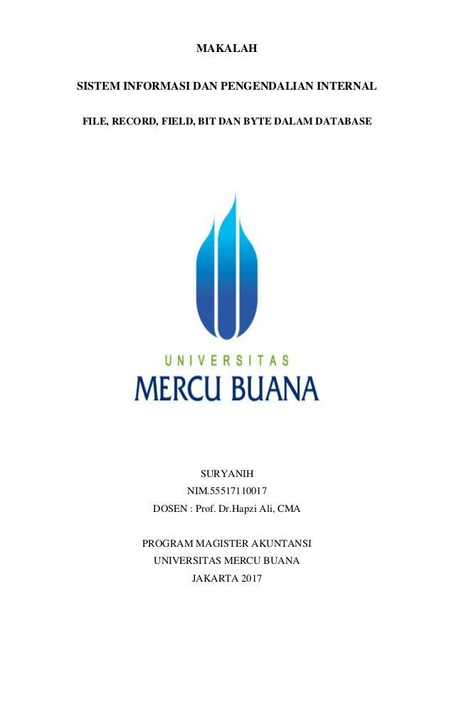 Si Pi Suryanih Hapzi Ali Manajemen Database Universitas Mercu Bua