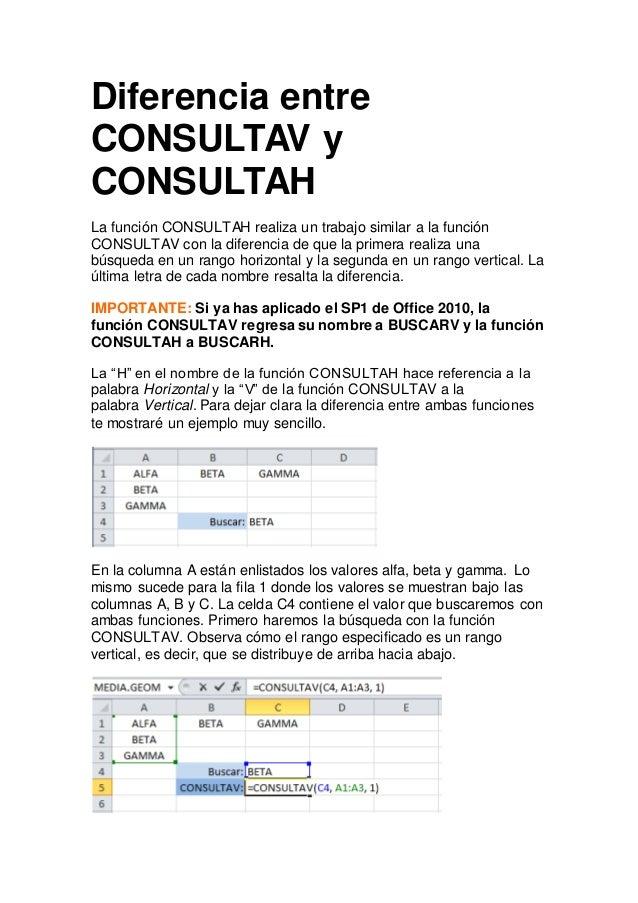Diferencia entre CONSULTAV y CONSULTAH La función CONSULTAH realiza un trabajo similar a la función CONSULTAV con la difer...