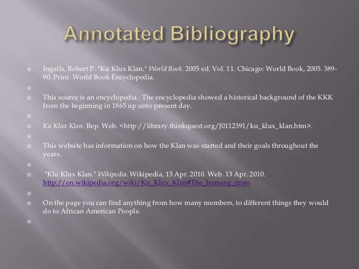 annotated bibliography just for background day