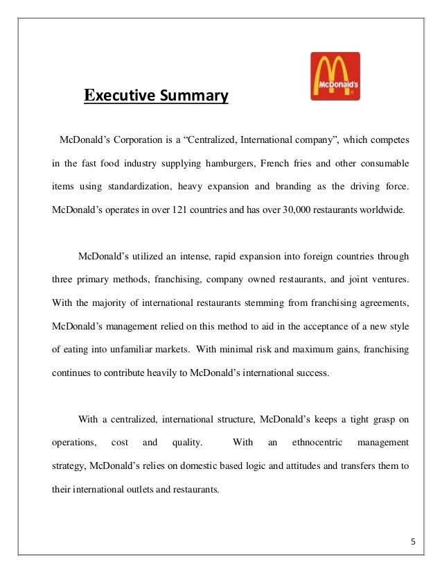 mcdonalds strategic hrm plan and executive summary Human resources and division leaders are executing the plan human resources is responsible for the day-to-day management, compliance and execution of the plan executive summary.