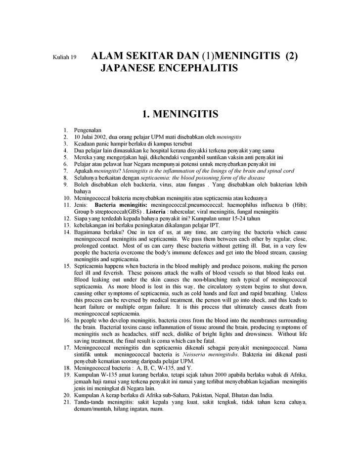 Kuliah 19        ALAM SEKITAR DAN (1)MENINGITIS (2)                   JAPANESE ENCEPHALITIS                               ...
