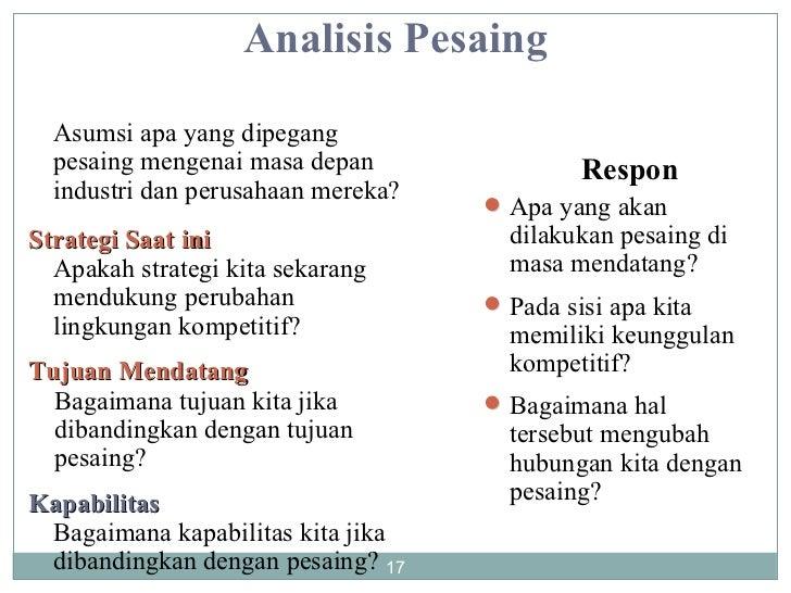 Analisis Pesaing Asumsi apa yang dipegang pesaing mengenai masa depan industri dan perusahaan mereka? Strategi Saat ini Ap...