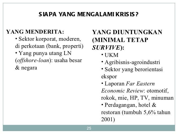 SIAPA YANG MENGALAMI KRISIS? <ul><li>YANG MENDERITA: </li></ul><ul><ul><li>Sektor korporat, moderen, di perkotaan (bank, p...