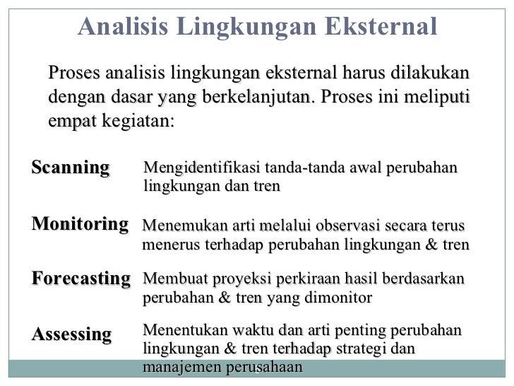 Analisis Lingkungan Eksternal Proses analisis lingkungan eksternal harus dilakukan dengan dasar yang berkelanjutan. Proses...