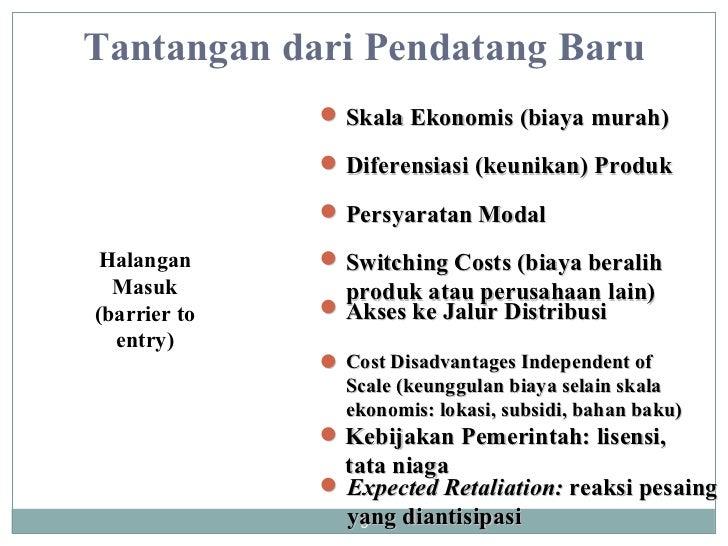 Tantangan dari Pendatang Baru Halangan Masuk (barrier to entry) Expected Retaliation:  reaksi pesaing  yang diantisipasi K...