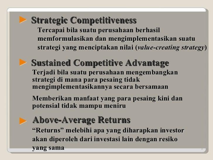 """Sustained Competitive Advantage Above-Average Returns """" Returns"""" melebihi apa yang diharapkan investor akan diperoleh dari..."""
