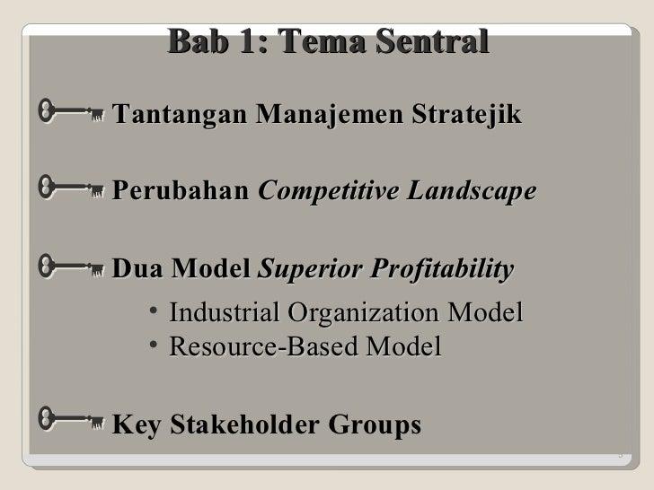 Bab 1: Tema Sentral <ul><li>Industrial Organization Model </li></ul><ul><li>Resource-Based Model </li></ul>Tantangan Manaj...