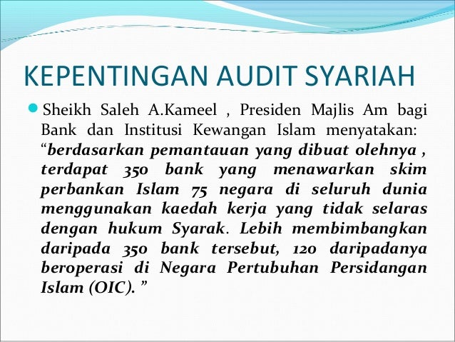 audit syariah Concept of maqasid al-syariah in directly meaning maqasid al-syariah can be define as the objectives of islamic law therefore, audit syariah is the process to analyse, check, investigate and to make sure the operation and the management of islamic financial institution.