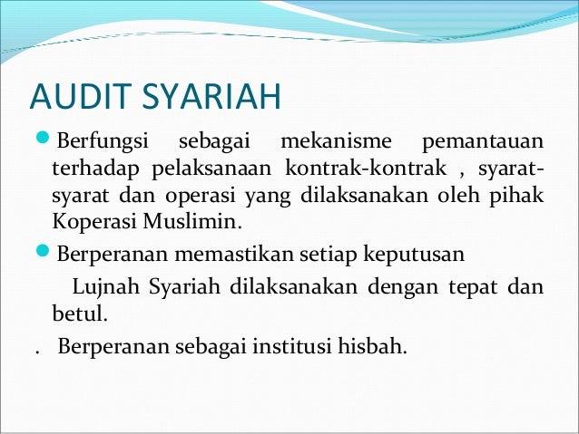 audit syariah Oleh: ahmad ridwan resensi dari buku : audit & pengawasan syariah pada bank syariah penulis : muhammad( praktisi dewan pengawas syariah bank syariah) dasar hukum peraturan bank indonesia (pbi) no 6/17/pbi/2004 tanggal 1 juli 2004 tentang perkreditan rakyat berdasarkan prinsip syariah.