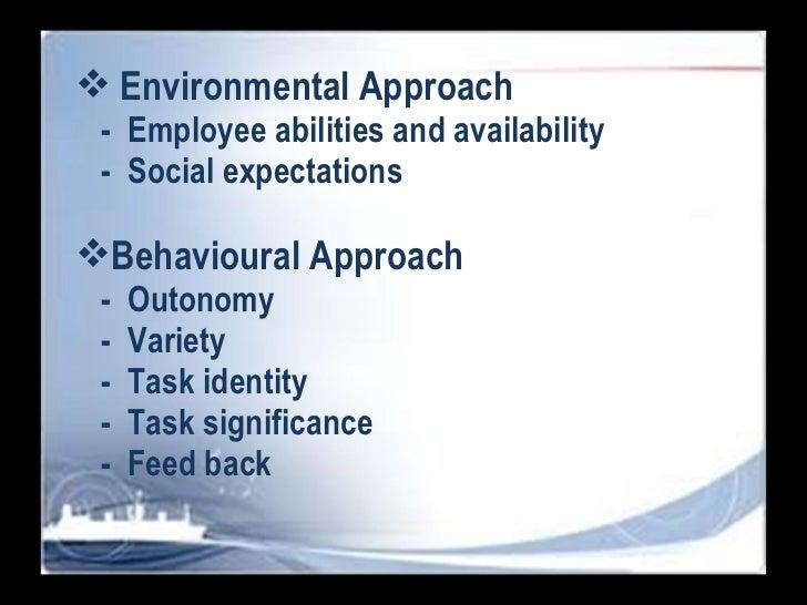 <ul><li>Environmental Approach </li></ul><ul><li>-  Employee abilities and availability  </li></ul><ul><li>-  Social expec...