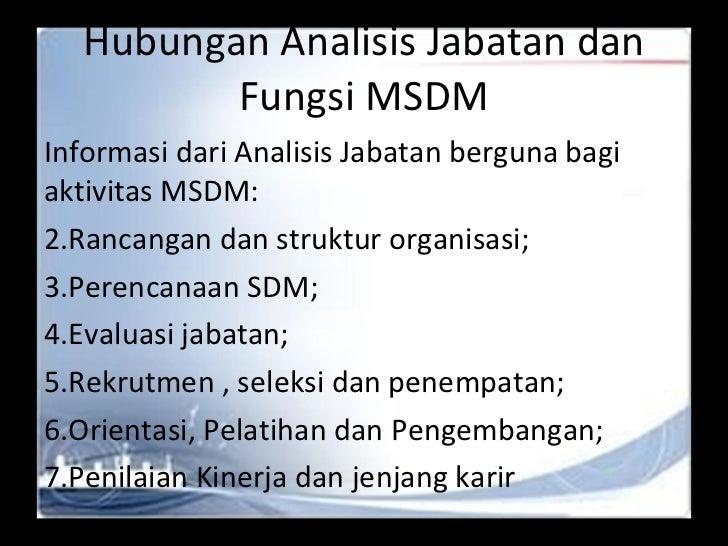 Hubungan Analisis Jabatan dan Fungsi MSDM <ul><li>Informasi dari Analisis Jabatan berguna bagi aktivitas MSDM: </li></ul><...